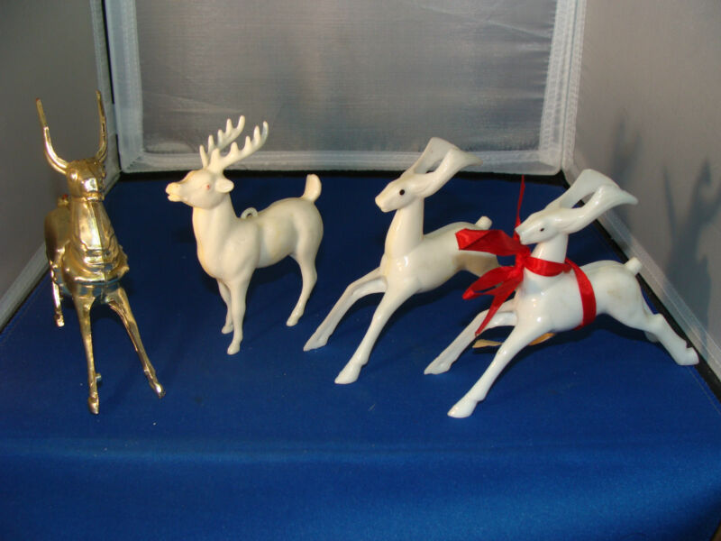 (Lot of 4) Vintage Hard Plastic Reindeer Collectibles