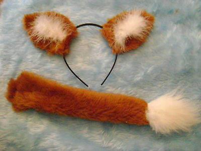 Halloween Chestnut Fox Ears And Clip On Tail Fancy Dress Set One Size Unisex  - Fox Ears And Tail Set Halloween