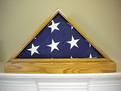 5 X 9 LIGHT OAK WITH BASE FLAG DISPLAY CASE AMERICAN MILITARY BURIAL FUNERAL (American Oak Base)