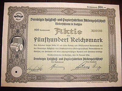 Ver. Holzstoff-und Papierfabriken 500RM  1934 historisches Wertpapier / Aktie