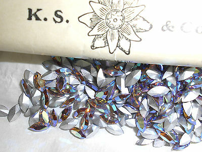Swarovski vintage 24 navettes colorado topaz light ab 8x4mm à sertir N°16