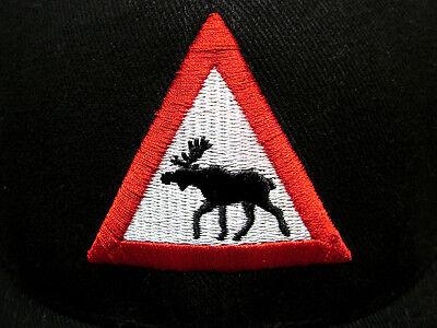 Moose Warning Sign - MOOSE CROSSING baseball hat Warning Sign traffic cap elk humor antlers Minnesota