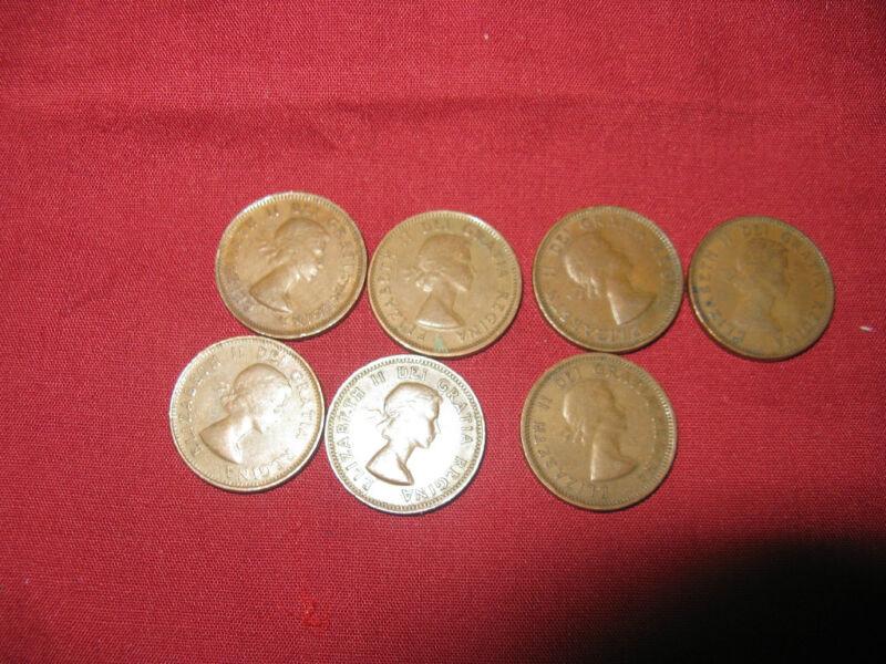 Complete Set Of 7 Canada Queen Elizabeth Pennies 1953 To 1959.