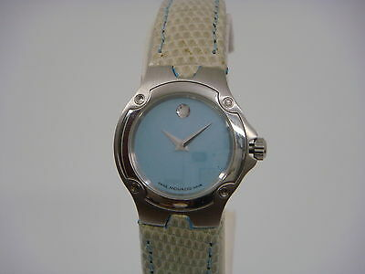 Dial Lizard Strap - MOVADO BLUE MOP DIAL LIZARD LEATHER STRAP LADIES WATCH 0605137 PRE-OWNED.