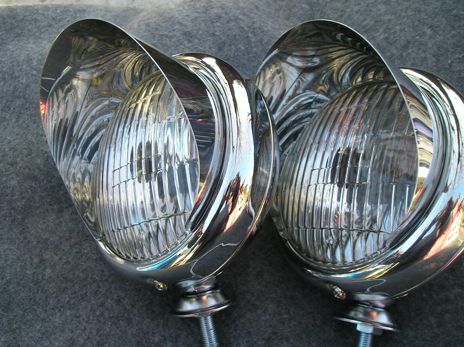 Vintage Car Truck Parts Lighting Lamps Fog Driving Lights On Visors And Brackets New Or Light Wiring Harnesses Picture Pair Chrome Small 12 Volt Style Clear Color With