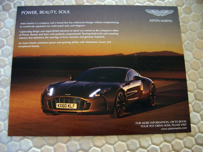 ASTON MARTIN OFFICIAL ONE-77 SALES BROCHURE CARD 2012 USA EDITION