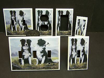 Border Collie Black And White - BLACK AND WHITE BORDER COLLIE DOG # 1  LIGHT SWITCH COVER PLATE OR OUTLET COVER