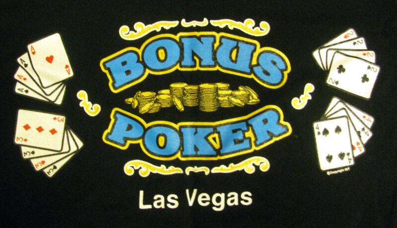 Vintage BONUS POKER Souvenir T-Shirt Circus Circus Casino LAS VEGAS NEW L w Tag