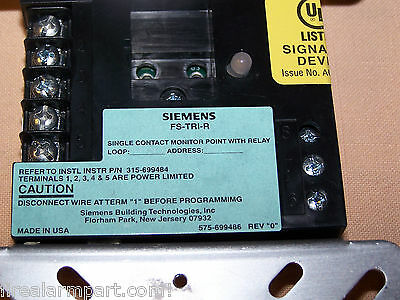 Siemens Fs-tri-r Monitorrelay Mod. For Fs-100 Fs100 Fire Seeker Fire Panel