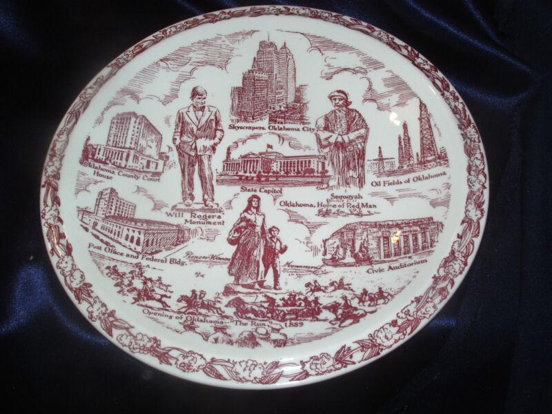 VERNON KILNS HARBOUR LONGMIRE OKLAHOMA CITY SOUVENIR PLATE WILL ROGERS HISTORIC