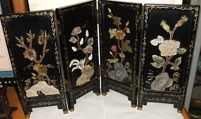 CHINESE HAND PAINTED CARVED FLORAL JADE LACQUER SCREEN