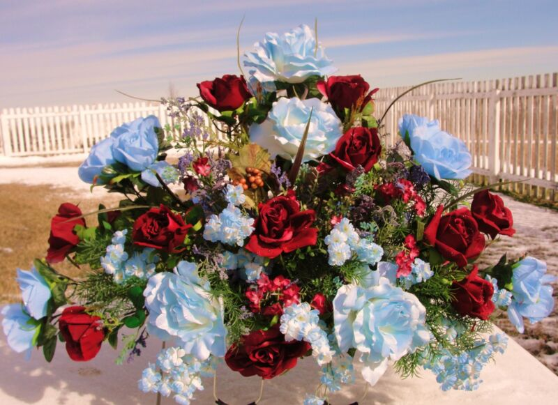 Tombstone Saddles Burial Flowers Blue Roses Grave Cemetery Burgundy Spray