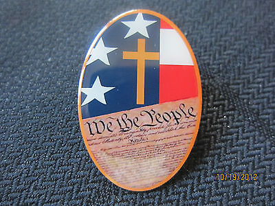 'We the People' Christian Lapel Pin-  Cross, American Flag, Constitution - Jesus