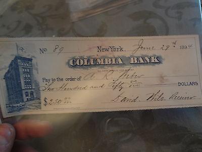 1890 New York City Columbia Bank Check