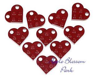NEW Lego Lot/10 Valentine's Day DARK RED HEART SET Minifig Wedding Charm Pendant