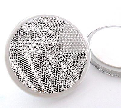 2x Self-Adhesive Stick-on White Round Circular Trailer Caravan Reflectors 60mm
