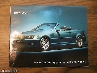 2001 BMW FULL LINE CARS M3 Z8 Z3 3 / 5 SERIES M CARS SALES BROCHURE / POSTER