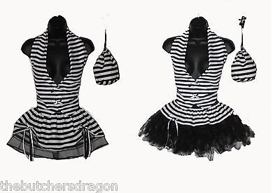 Womens Black & White Convict Prisoner Girl Halloween Tutu Fancy Dress Costume](Halloween Costumes Prisoner Girl)