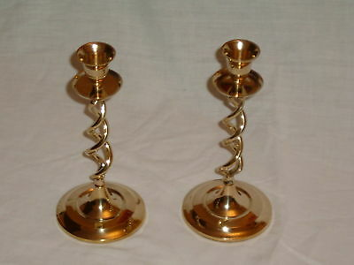 Brass Candle Sticks With a Twist Stem-  Pair /tea lights home Vintage - Sticks With Lights Decorations