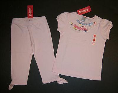 NWT Gymboree Love is in the Air 5 5T Pink Ruffle Tee & Tie Capri Pants Leggings