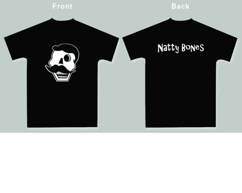 NEW! Natty Bones Skull T-shirt -  (Black) Size Men