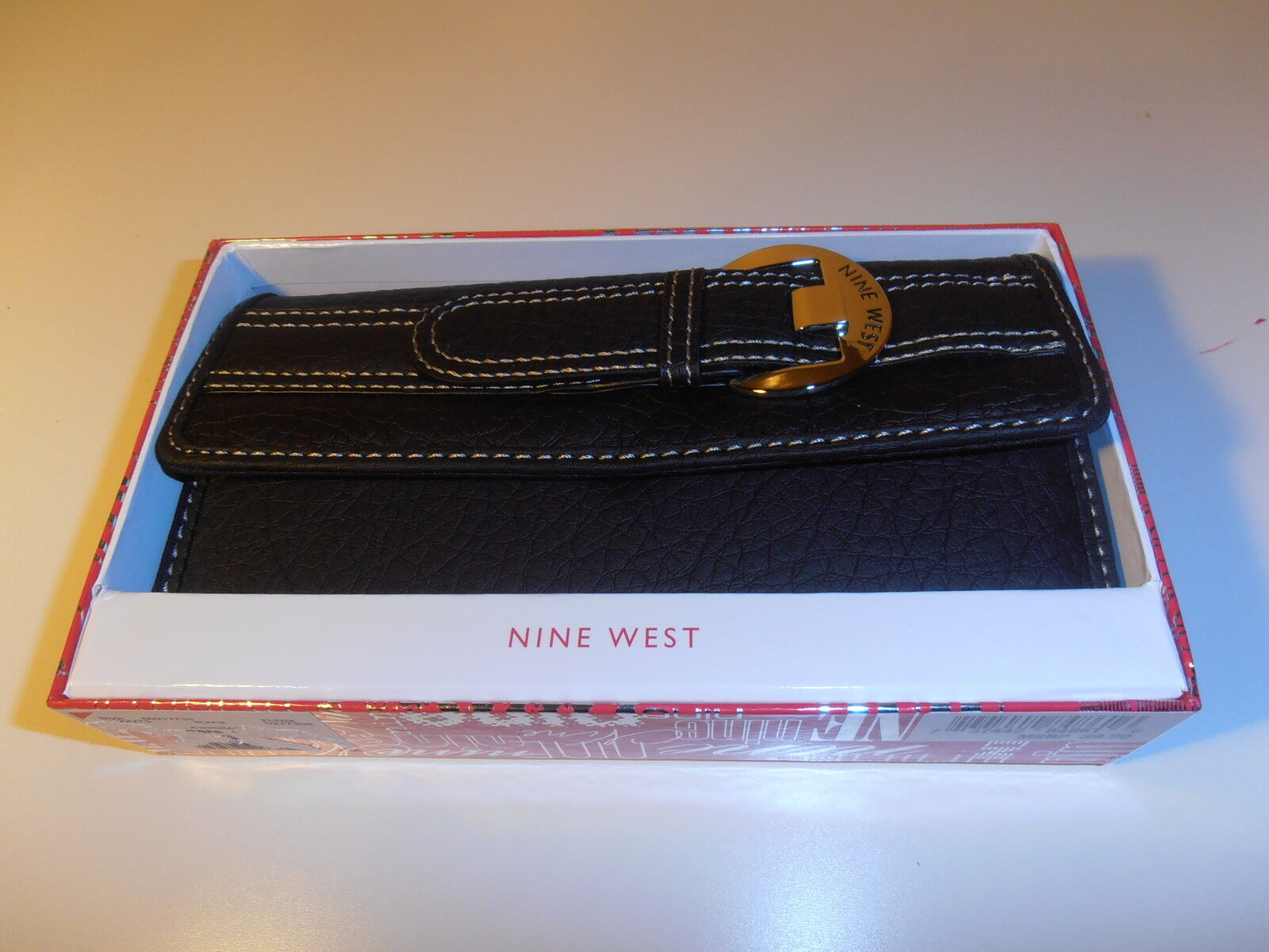 NINE WEST CHECKBOOK WALLET BLACK COLOR IN BOX NICE & CHEAP!!!