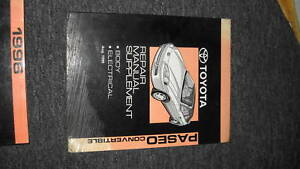 1996 Toyota Paseo Convertible Repair Shop Service Manual Supplement OEM Book