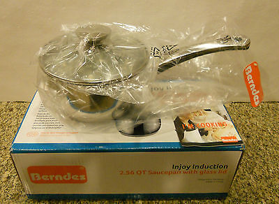 Berndes Injoy Induction 2.56 QT Saucepan with glass lid 073837 Berndes With Lid Sauce Pan