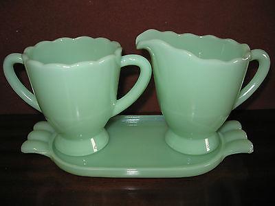 Jadeite glass Creamer and sugar coffee set with tray jade jadite green milk art