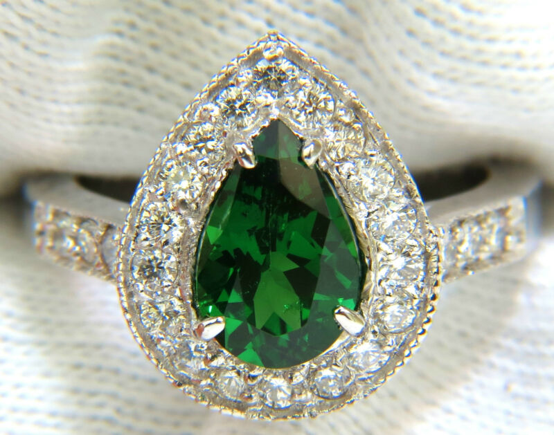 █$7000 2.56ct Natural Bright Fine Gem Green Tsavorite Diamond Ring 14kt █