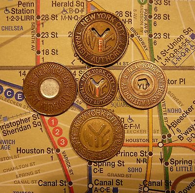 NYC New York City Subway Tokens, and Map