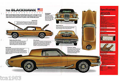 1972 STUTZ BLACKHAWK SPEC SHEET / Brochure / Catalog / Photo's ()