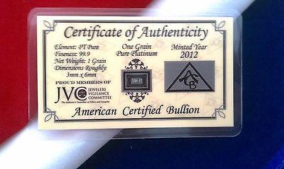 ACB Platinum 1GRAIN SOLID BULLION MINTED BAR 99.9 Pure PT W/ COA +