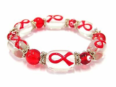 Red Ribbon Heart Disease AIDS Awareness Care for Cure Glass Stretch Bracelet New - Aids Awareness Ribbon