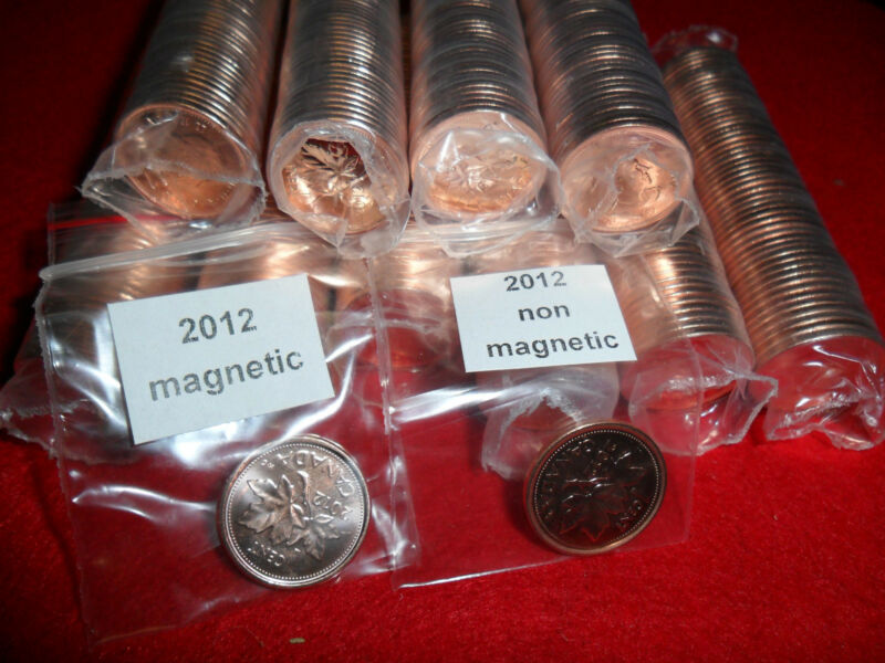 Rare 2012 Canadian Magnetic & non magnetic penny rolls from RCM(50087)(LAST YEAR