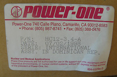 Power One Hc12-3.4-a Power Supply 3.4amp 100-240vac 12vdc