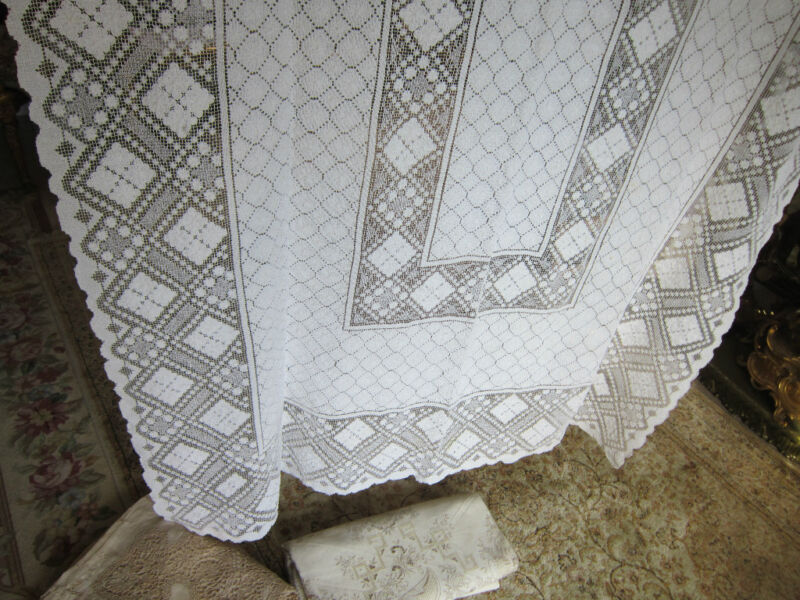 Vintage French Heavy Pure Linen Lace Tablecloth Milk color 82x54