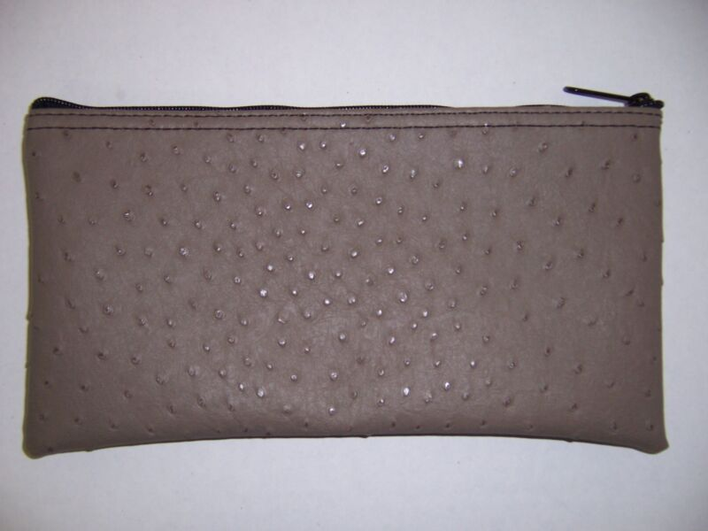 1 Brand New Premium Ostrich Pattern Tan Leather Like Bank Deposit Money Bag