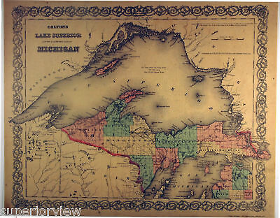 1872 Lake Superior Map Iron Copper Mines Michigan GREAT