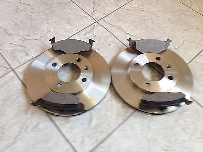 SEAT AROSA 95--TWO FRONT SOLID BRAKE DISCS & A SET OF FOUR BRAKE PADS LH AND RH