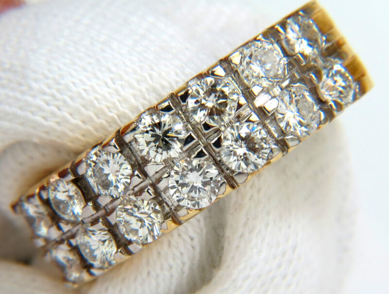 █$7000 2.00CT TWO ROW ROUND DIAMOND BAND RING H/VS 14KT SIZE 8 3/4█