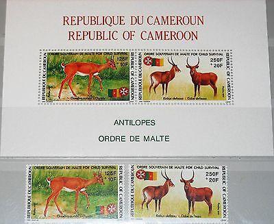 CAMEROUN KAMERUN 1991 1175-76 Block 29 B39-40a Antilopen Antelopes Malteser MNH