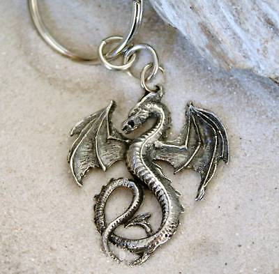 GOTHIC FANTASY DRAGON Pewter KEYCHAIN Key Ring