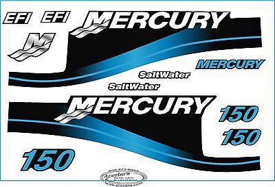 Mercury Outboard Motor 150 HP Horse Power Decal Kit - Blue Saltwater EFI Boating 150 Hp Boat Motor