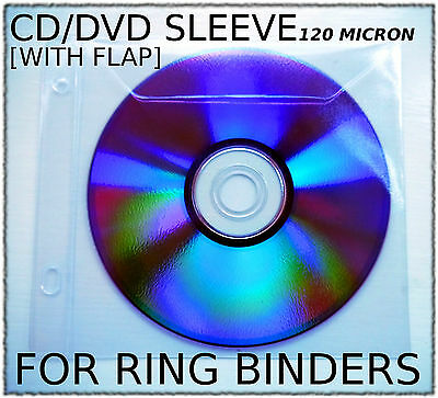 pvc plastic SLEEVE for Ring Binders [with flap] CD DVD Blu-Ray PS3 Xbox Wii
