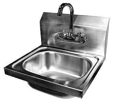 Wall Mount Hand Sink Stainless Steel 16x15 W No Lead Faucet