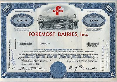 Foremost Dairies, Inc. Stock Certificate Milk Farming Cheese