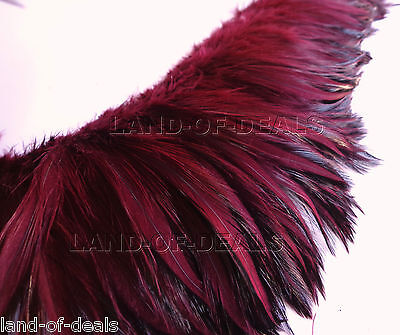 Red Wine rooster hackle feather Wholesale bulk real feathers, 4 in (10 cm) long - Bulk Feathers