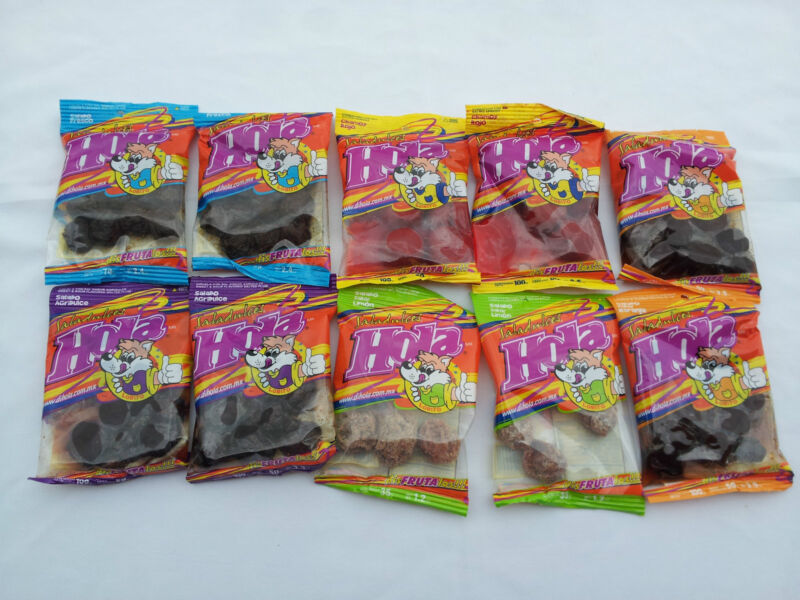 Hola saladitos (salted apricot) Mix Flavors 10-pack Mexican candy