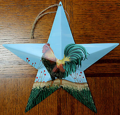"New Tin Metal Rooster Hanging Star 9.5"" Country Decor Farm Barn Style Artwork"